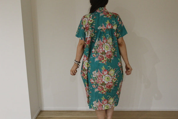Teal Floral Collared Knee length Maternity Dress