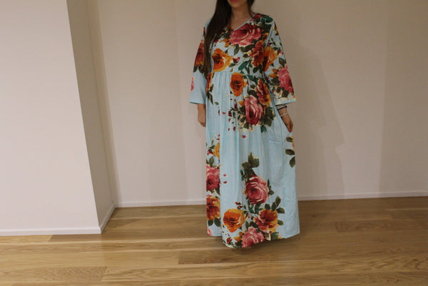 Light Blue Floral Maternity Maxi Dress