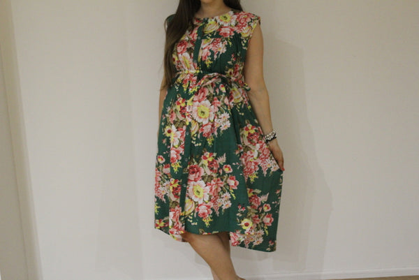 Dark Green Floral Front Buttoned Maternity Dress