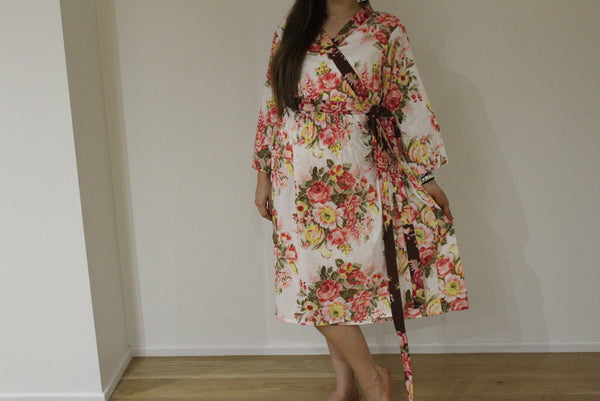 New *Wide In-Built Belt Robe* Floral Knee Length Maternity Hospital Gown