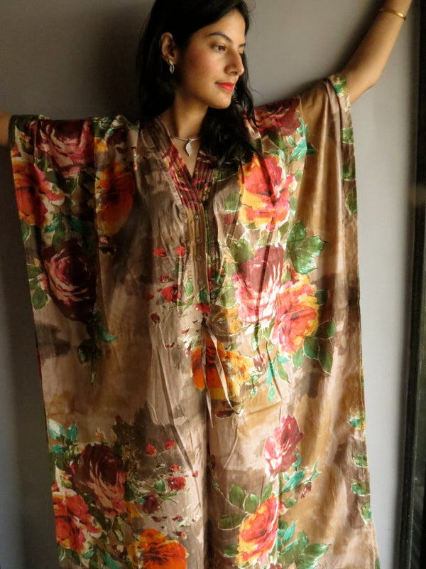Brown Multicolor Big Flower V-Neck Button Down to Waist, Ankle Length, Cinched Waist Caftan-D11 fabric Code