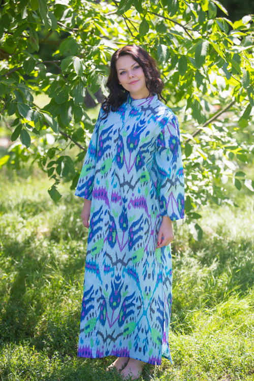 Blue Charming Collars Style Caftan in Ikat Aztec Pattern