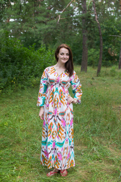 White Mint Button Me Down Style Caftan in Ikat Aztec Pattern