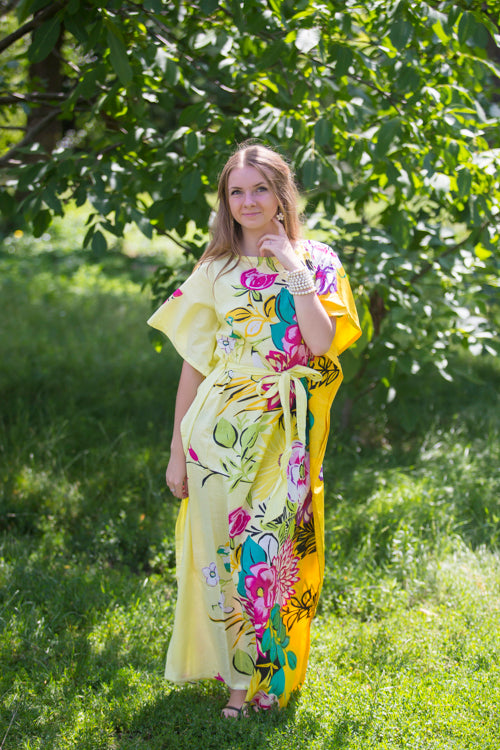 Light Yellow Divinely Simple Style Caftan in Jungle of Flowers Pattern