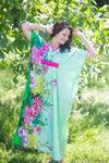 Mint Unfurl Style Caftan in Jungle of Flowers Pattern