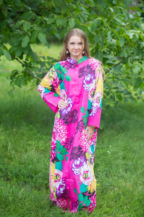 Pink Charming Collars Style Caftan in Jungle of Flowers Pattern