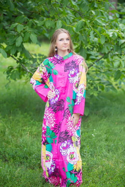 Pink Charming Collars Style Caftan in Jungle of Flowers Pattern|Pink Charming Collars Style Caftan in Jungle of Flowers Pattern|Jungle of Flowers