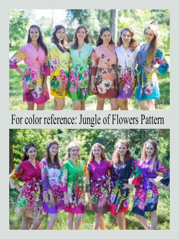 Peach Button Me Down Style Caftan in Jungle of Flowers Pattern