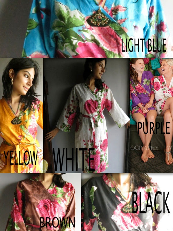 Mismatched Large Fuchsia Floral Blossom Patterned Bridesmaids Robes in Jewel Tones