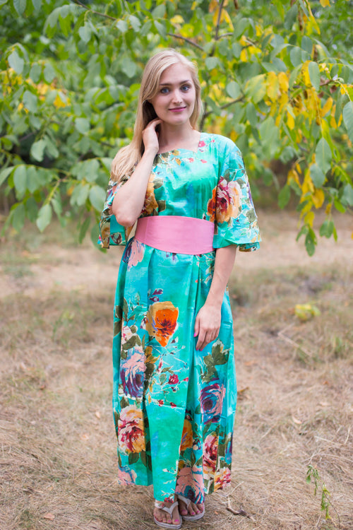 Aqua Beauty, Belt and Beyond Style Caftan in Large Floral Blossom