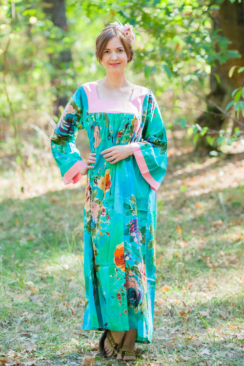 Aqua Fire Maiden Style Caftan in Large Floral Blossom Pattern