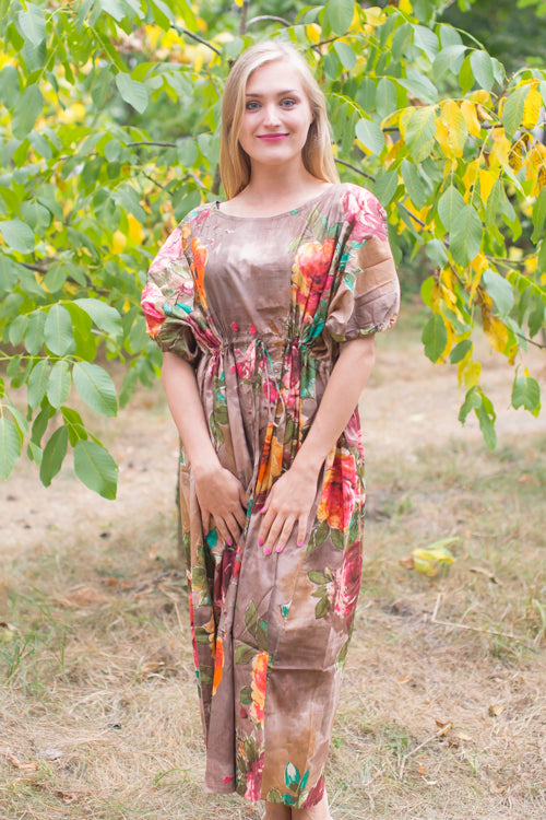 Brown Cut Out Cute Style Caftan in Large Floral Blossom Pattern|Brown Cut Out Cute Style Caftan in Large Floral Blossom Pattern|Large Floral Blossom