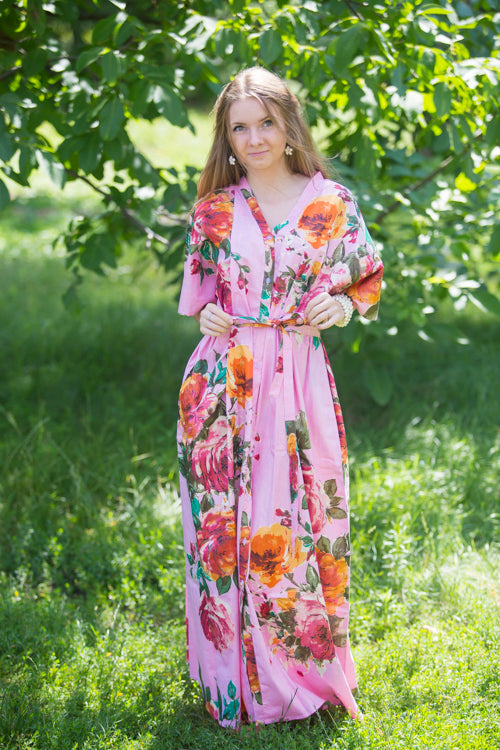 Pink Best of both the worlds Style Caftan in Large Floral Blossom Pattern
