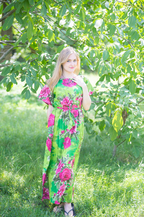 Mint Divinely Simple Style Caftan in Large Fuchsia Floral Blossom Pattern