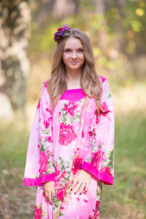 Pink Fire Maiden Style Caftan in Large Fuchsia Floral Blossom Pattern|Pink Fire Maiden Style Caftan in Large Fuchsia Floral Blossom Pattern|Large Fuchsia Floral Blossom