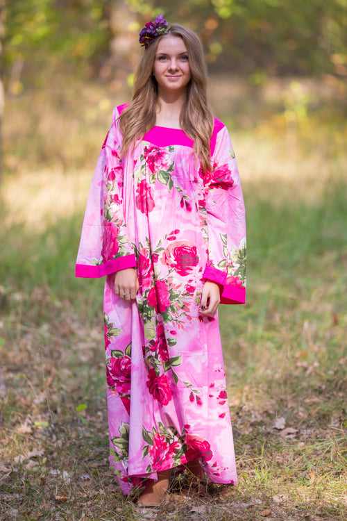 Pink Fire Maiden Style Caftan in Large Fuchsia Floral Blossom Pattern