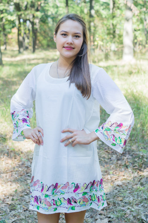 White Bella Tunic Style Caftan in Little Chirpies Pattern|White Bella Tunic Style Caftan in Little Chirpies Pattern|Little Chirpies