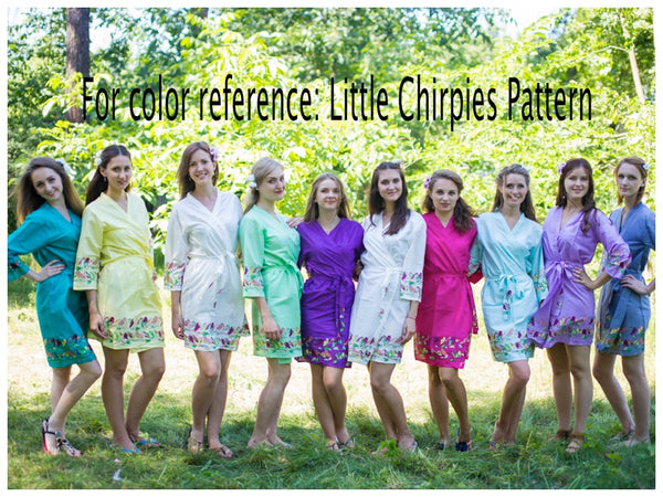 Gray Cool Summer Style Caftan in Little Chirpies Pattern