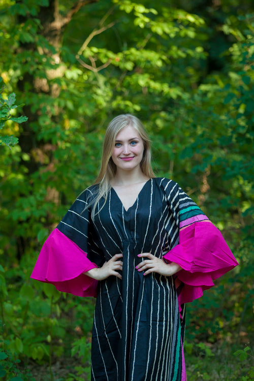 Black Ballerina Style Caftan in Multicolored Stripes|Black Ballerina Style Caftan in Multicolored Stripes|Multicolored Stripes