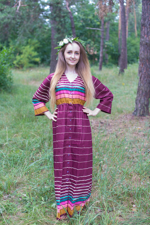 Burgundy Button Me Down Style Caftan in Multicolored Stripes Pattern|Burgundy Button Me Down Style Caftan in Multicolored Stripes Pattern|Multicolored Stripes