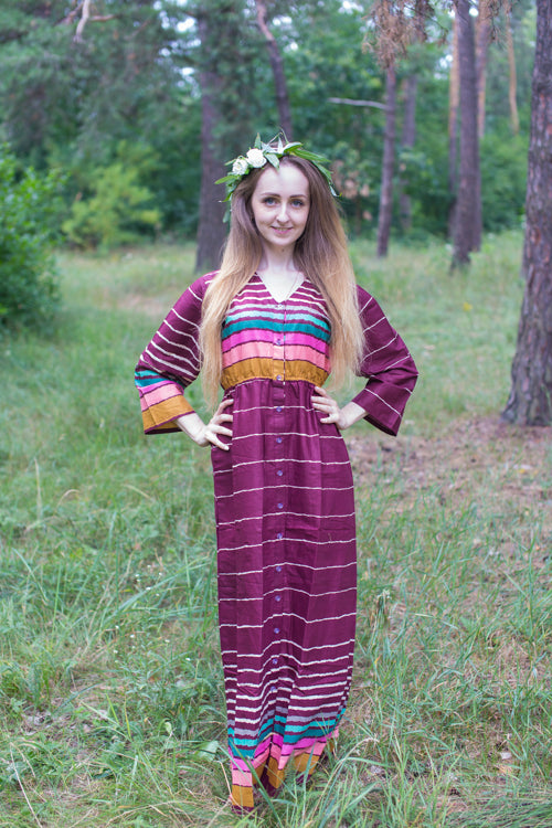 Burgundy Button Me Down Style Caftan in Multicolored Stripes Pattern