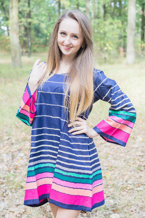 Dark Blue Bella Tunic Style Caftan in Multicolored Stripes Pattern|Dark Blue Bella Tunic Style Caftan in Multicolored Stripes Pattern|Multicolored Stripes