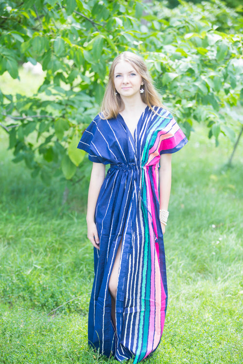 Dark Blue Beach Days Style Caftan in Multicolored Stripes