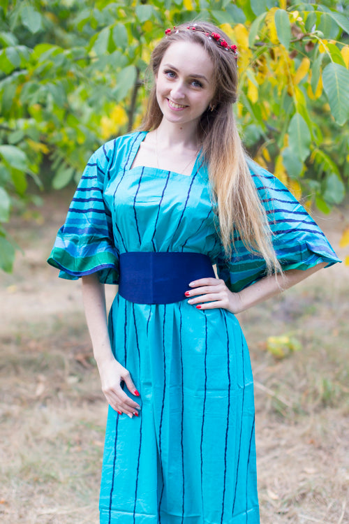 Teal Beauty, Belt and Beyond Style Caftan in Multicolored Stripes|Teal Beauty, Belt and Beyond Style Caftan in Multicolored Stripes|Multicolored Stripes