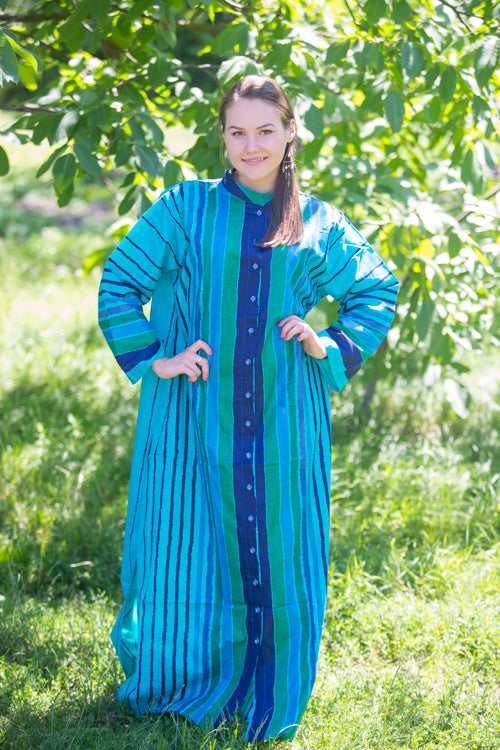 Teal Charming Collars Style Caftan in Multicolored Stripes Pattern
