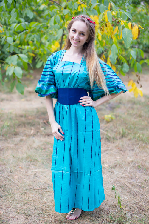 Teal Beauty, Belt and Beyond Style Caftan in Multicolored Stripes