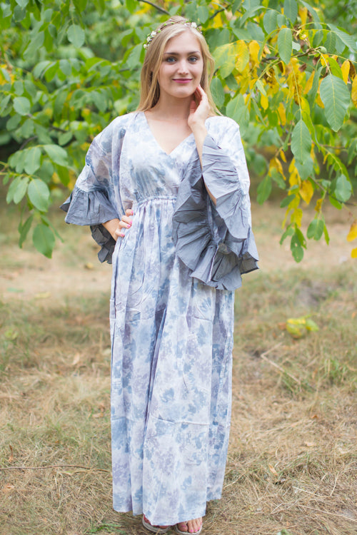 Gray Frill Lovers Style Caftan in Ombre Fading Leaves Pattern|Gray Frill Lovers Style Caftan in Ombre Fading Leaves Pattern|Ombre Fading Leaves