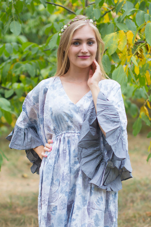 Gray Frill Lovers Style Caftan in Ombre Fading Leaves Pattern