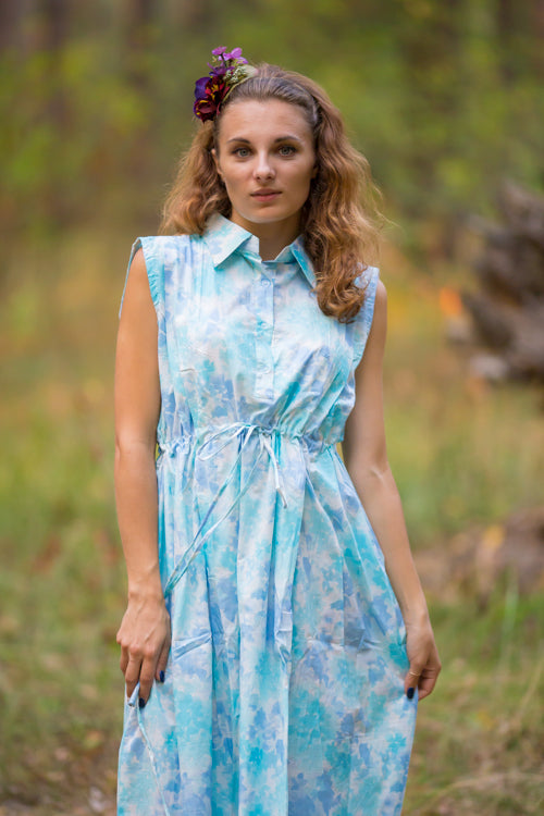 Light Blue Cool Summer Style Caftan in Ombre Fading Leaves Pattern|Light Blue Cool Summer Style Caftan in Ombre Fading Leaves Pattern|Ombre Fading Leaves