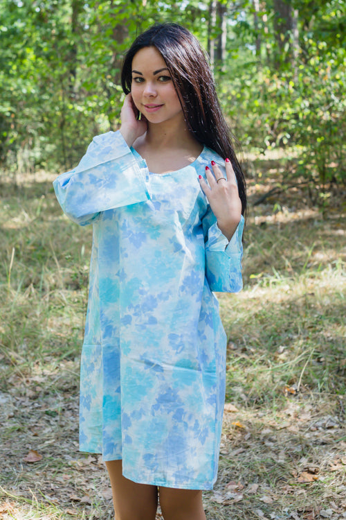 Light Blue Bella Tunic Style Caftan in Ombre Fading Leaves Pattern|Light Blue Bella Tunic Style Caftan in Ombre Fading Leaves Pattern|Ombre Fading Leaves