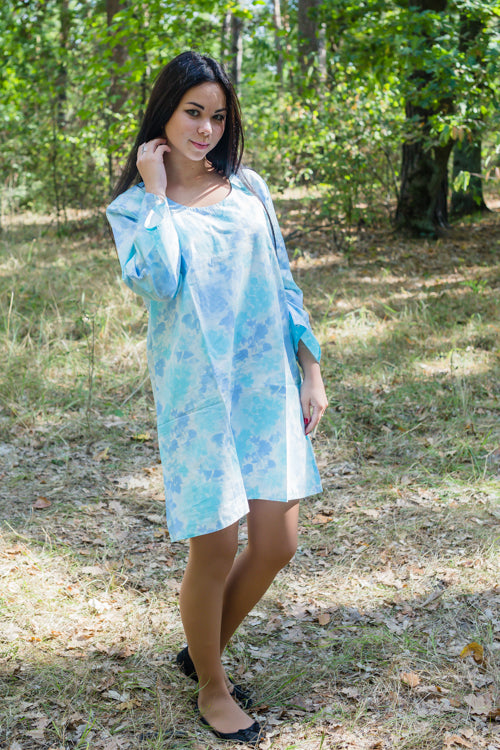 Light Blue Bella Tunic Style Caftan in Ombre Fading Leaves Pattern