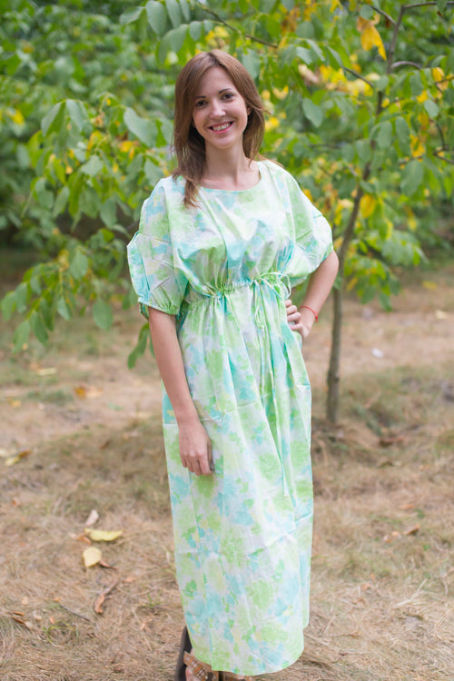 Mint Cut Out Cute Style Caftan in Ombre Fading Leaves Pattern|Mint Cut Out Cute Style Caftan in Ombre Fading Leaves Pattern|Ombre Fading Leaves