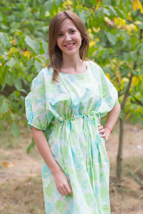 Mint Cut Out Cute Style Caftan in Ombre Fading Leaves Pattern