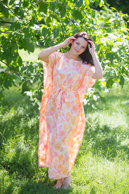 Peach Divinely Simple Style Caftan in Ombre Fading Leaves Pattern