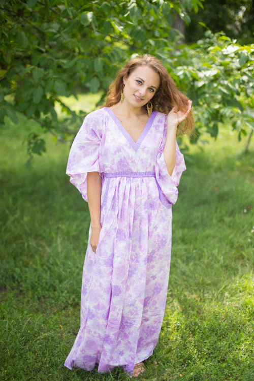 White Lilac Breezy Bohemian Style Caftan in Ombre Fading Leaves Pattern