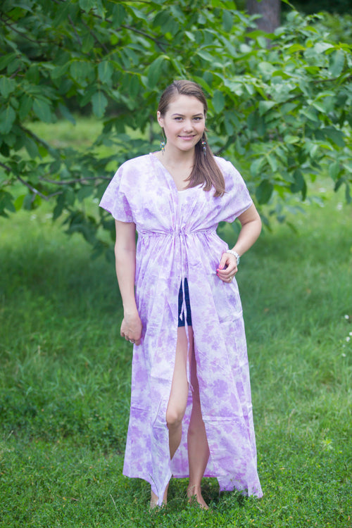 White Lilac Beach Days Style Caftan in Ombre Fading Leaves