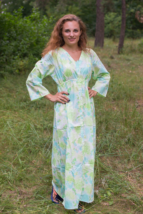 White Mint Button Me Down Style Caftan in Ombre Fading Leaves Pattern