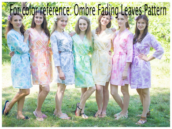 Mismatched Ombre Fading Leaves Patterned Bridesmaids Robes in Soft Tones