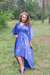 Dark Blue High Low Wind Flow Style Caftan in Ombre TieDye Pattern
