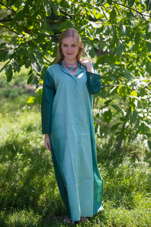 Green Charming Collars Style Caftan in Ombre TieDye Pattern