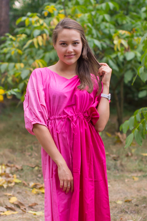 Magenta Cut Out Cute Style Caftan in Ombre TieDye Pattern