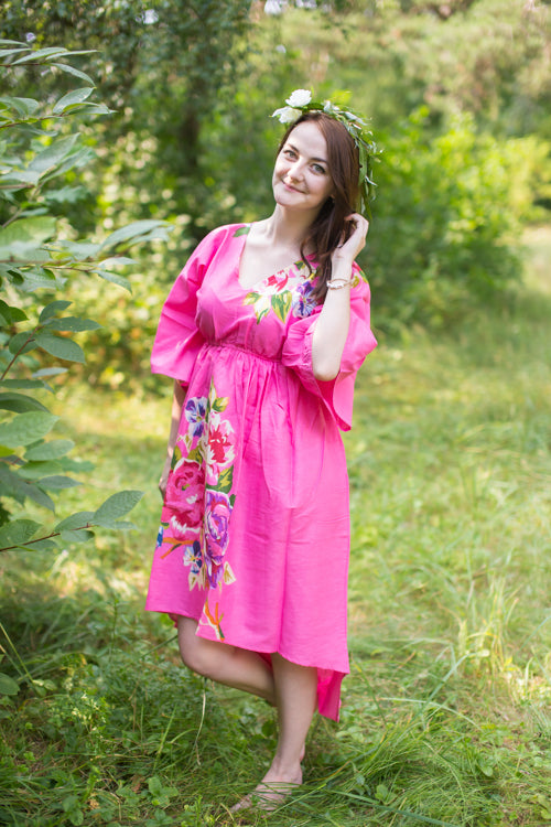 Dark Pink High Low Wind Flow Style Caftan in One Long Flower Pattern