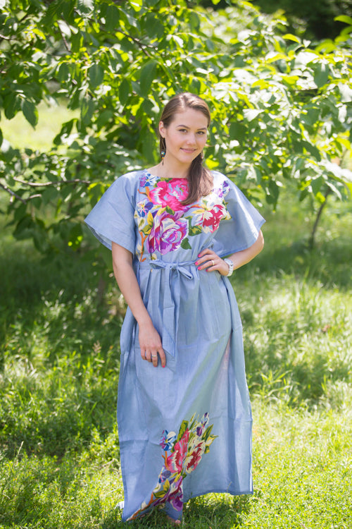 Gray Divinely Simple Style Caftan in One Long Flower Pattern|Gray Divinely Simple Style Caftan in One Long Flower Pattern|One Long Flower