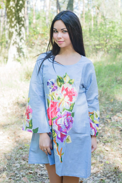 Gray Bella Tunic Style Caftan in One Long Flower Pattern|Gray Bella Tunic Style Caftan in One Long Flower Pattern|One Long Flower