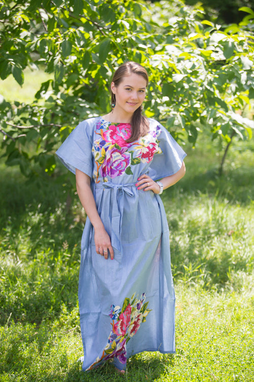 Gray Divinely Simple Style Caftan in One Long Flower Pattern