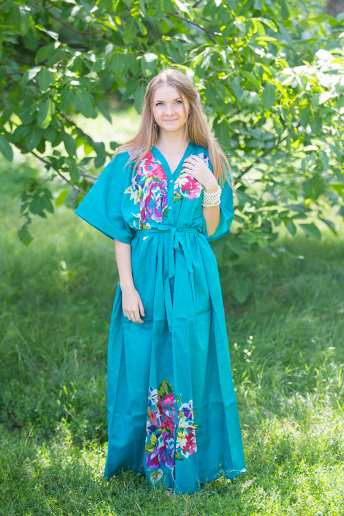 Teal Best of both the worlds Style Caftan in One Long Flower Pattern|Teal Best of both the worlds Style Caftan in One Long Flower Pattern|One Long Flower